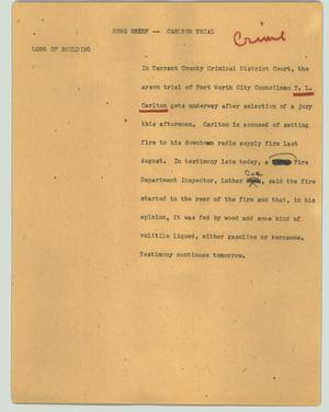 Primary view of object titled '[News Script: News brief - Carlton trial]'.