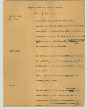 Primary view of object titled '[News Script: Veteran detective named top officer]'.