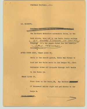 Primary view of object titled '[News Script: Freshman football]'.