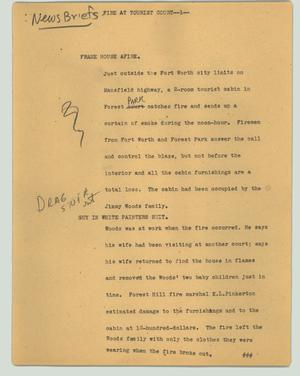 Primary view of object titled '[News Script: Fire at tourist court]'.