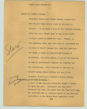 Primary view of object titled '[News Script: Frank Lloyd Wright]'.