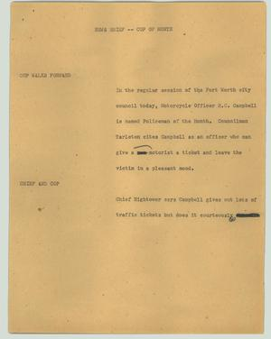 Primary view of object titled '[News Script: News brief - Cop of month]'.