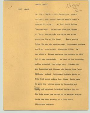 Primary view of object titled '[News Script: Queer money]'.