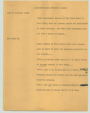 Primary view of object titled '[News Script: Laundrymen make convention awards]'.