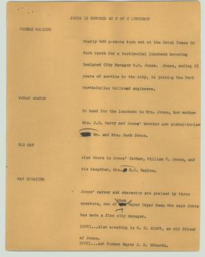 Primary view of object titled '[News Script: Jones is honored at C of C luncheon]'.