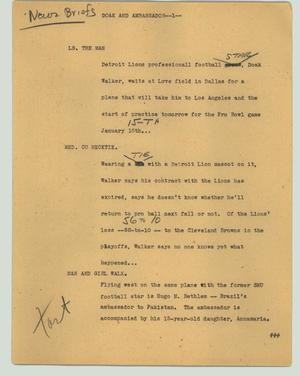 Primary view of object titled '[News Script: Doak and ambassador]'.