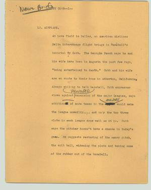 Primary view of object titled '[News Script: Ty Cobb]'.