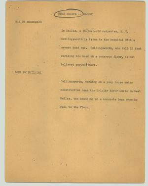 Primary view of object titled '[News Script: News briefs - injury]'.