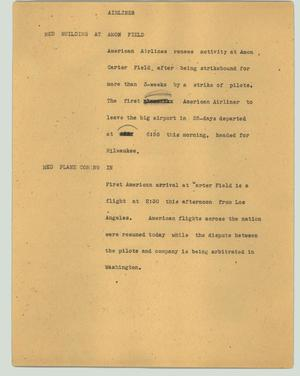 Primary view of object titled '[News Script: Airlines]'.