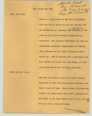 Primary view of object titled '[News Script: SMU leaves for game]'.