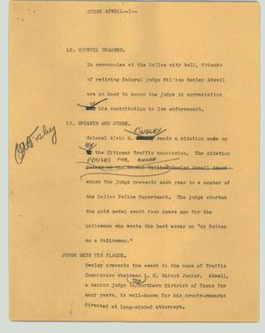 Primary view of object titled '[News Script: Judge Atwell]'.