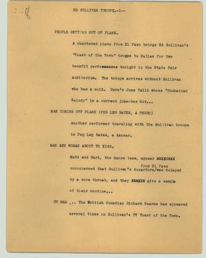 Primary view of object titled '[News Script: Ed Sullivan troupe]'.