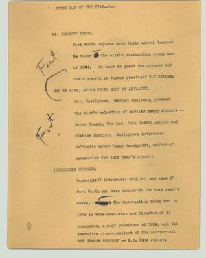 Primary view of object titled '[News Script: Young man of the year]'.