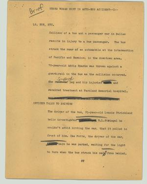 Primary view of object titled '[News Script: Negro woman hurt in auto-bus accident]'.