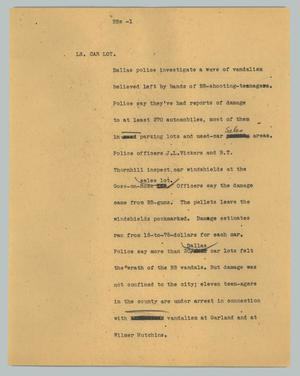 Primary view of object titled '[News Script: BBs]'.