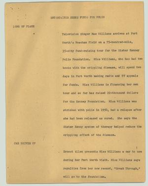 Primary view of object titled '[News Script: Entertainer seeks funds for polio]'.