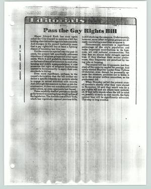 Primary view of [Editorial: Pass the Gay Rights Bill]