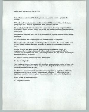 Primary view of object titled '[Typed notes on United Airline's domestic partner benefits announcement]'.