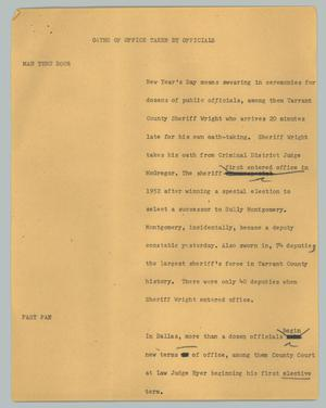 Primary view of object titled '[News Script: Oaths of office taken by officials]'.
