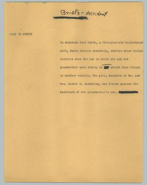Primary view of object titled '[News Script: Briefs - accident]'.