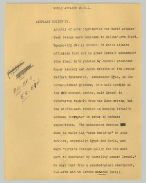 Primary view of object titled '[News Script: World Affairs Week]'.
