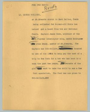 Primary view of object titled '[News Script: Fund for kid]'.