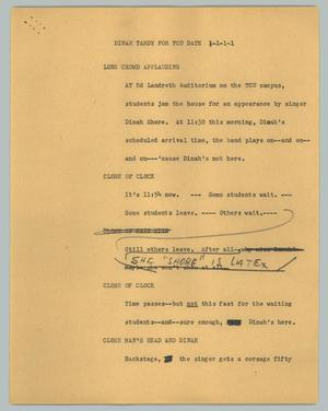 Primary view of object titled '[News Script: Dinah tardy for TCU date]'.
