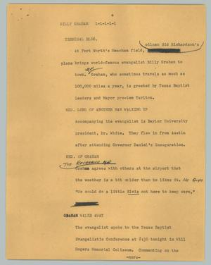 Primary view of object titled '[News Script: Billy Graham]'.