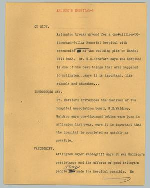 Primary view of object titled '[News Script: Arlington hospital]'.