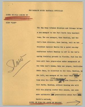 Primary view of object titled '[News Script: New manager meets baseball officials]'.