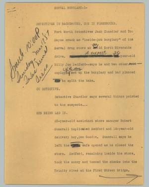 Primary view of object titled '[News Script: Serval burglary]'.