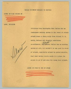 Primary view of object titled '[News Script: Dallas CD chief replies to critics]'.