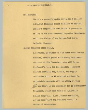Primary view of object titled '[News Script: St. Joseph's hospital]'.