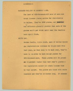 Primary view of object titled '[News Script: Licenses]'.