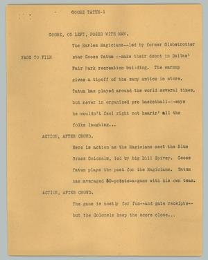 Primary view of object titled '[News Script: Goose Tatum]'.