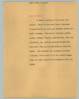 Primary view of object titled '[News Script: News briefs - council]'.