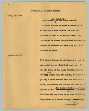 Primary view of object titled '[News Script: Courtmartial of airman delayed]'.