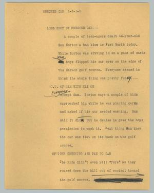 Primary view of object titled '[News Script: Wrecked car]'.
