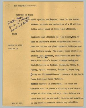 Primary view of object titled '[News Script: Sam Rayburn]'.