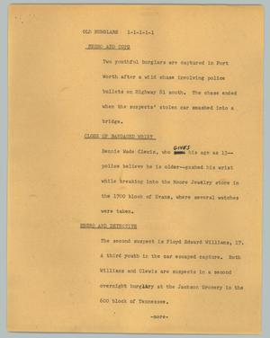 Primary view of object titled '[News Script: Old burglars]'.