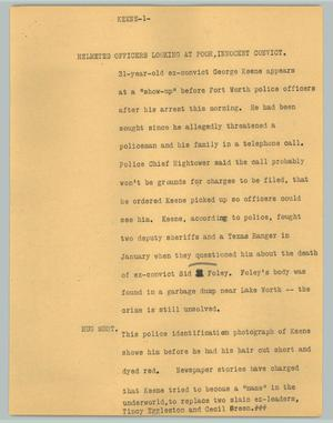 Primary view of object titled '[News Script: Keene]'.