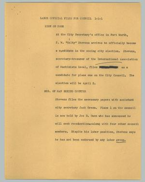 Primary view of object titled '[News Script: Labor official files for council]'.