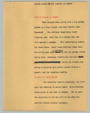 Primary view of object titled '[News Script: Garage nabbe d for parking in street]'.