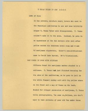 Primary view of object titled '[News Script: T Texas Tyler in jam]'.