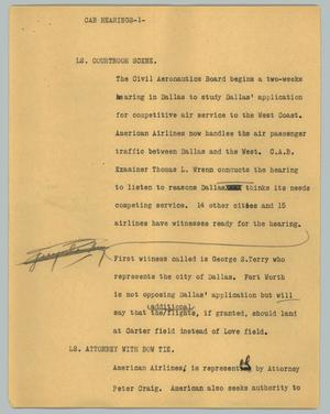 Primary view of object titled '[News Script: Cab hearings]'.