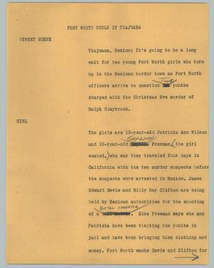 Primary view of object titled '[News Script: Fort Worth girls in Tijuana]'.