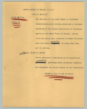 Primary view of object titled '[News Script: Osorio speaks in Dallas]'.
