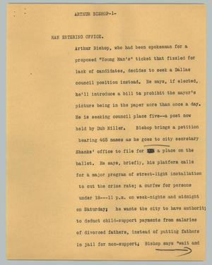 Primary view of object titled '[News Script: Arthur Bishop]'.