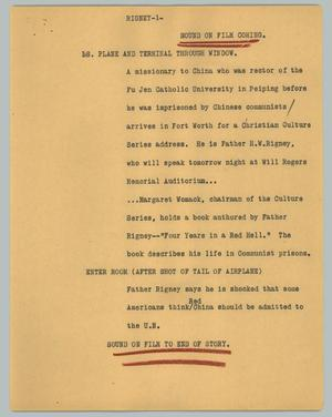 Primary view of object titled '[News Script: Rigney]'.