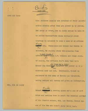 Primary view of object titled '[News Script: Briefs]'.